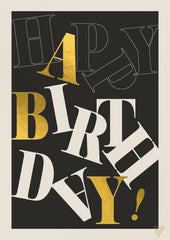 Happy Birthday Black, White and Gold Text Card