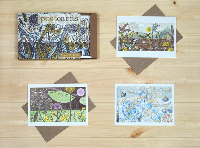 Box of 12 Angie Lewin Prints Postcards