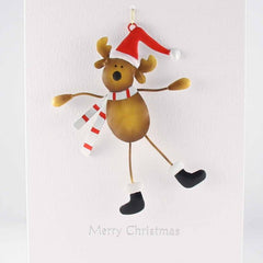 Rudolph on Skis Decoration Christmas Card