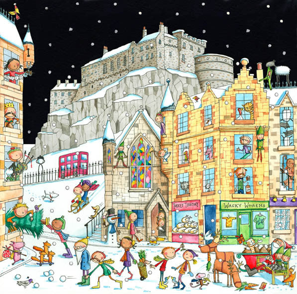 Edinburgh Castle from the Grassmarket Pack of 6 Christmas Cards