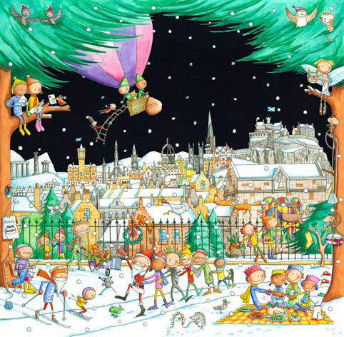 Edinburgh Skyline from the Botanic Gardens Pack of 6 Christmas Cards