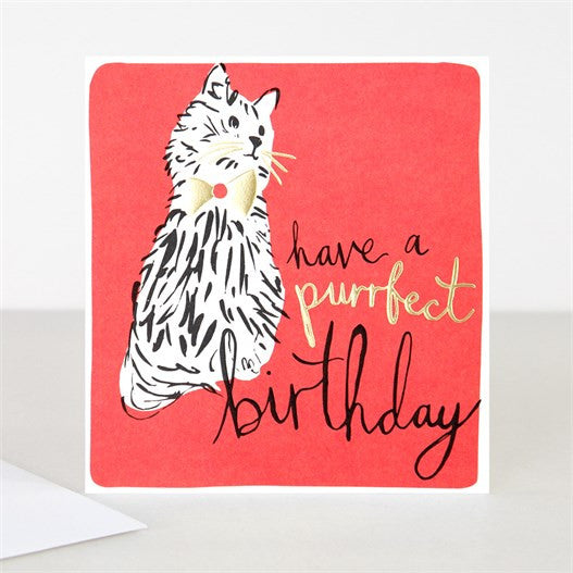 Have A Purrfect Birthday Cat Modern Calligraphy Card
