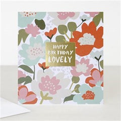 Happy Birthday Lovely Floral Jumble Card