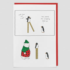 Wrapping Paper Penguin Christmas Card