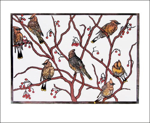 Waxwings Blank Card