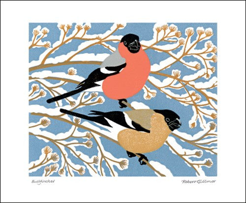 Winter Bullfinches Blank Card
