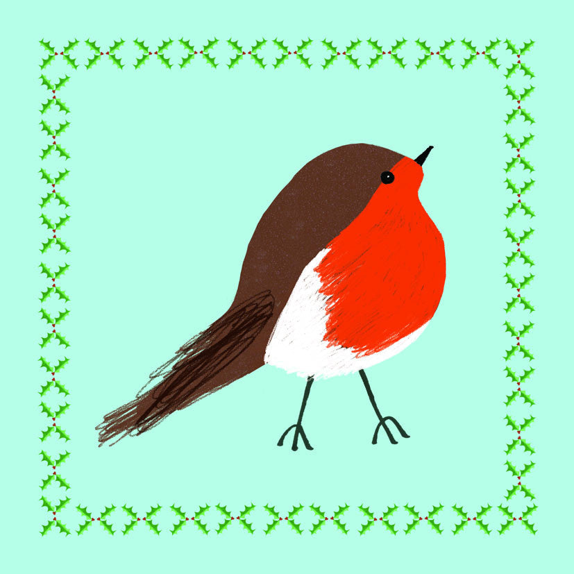 Pack of 6 Robin Paper Tiger Charity Christmas Cards
