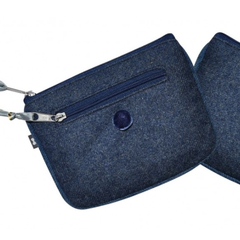 Blue Herringbone Emily Purse