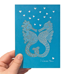 I Love You Seahorses Card