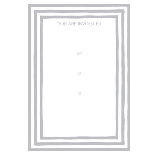 Pack of 8 Silver Striped Invitations