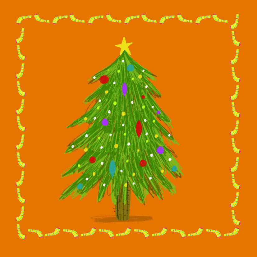 Pack of 6 Xmas Tree Paper Tiger Charity Christmas Cards