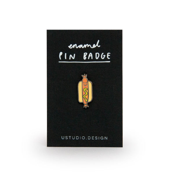 Pin Badge - Cute Hot Dog