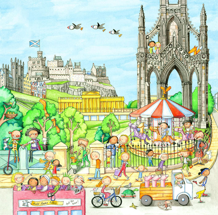 A View From Waverley Bridge Gingerpaws Square Card