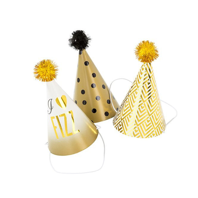 Gold Glam Party Hats Pack of 6