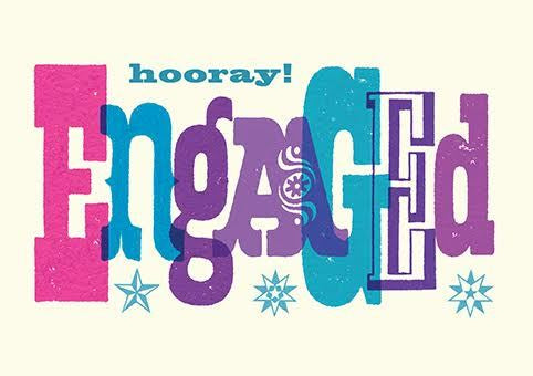 Hooray! Engaged Typography Card
