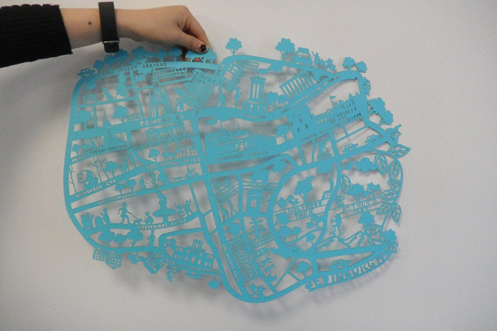 Lasercut A4 Edinburgh Map in Tube - Blue