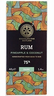 Bean To Bar Dark Chocolate 75% Rum, Pineapple And Coconut 40g