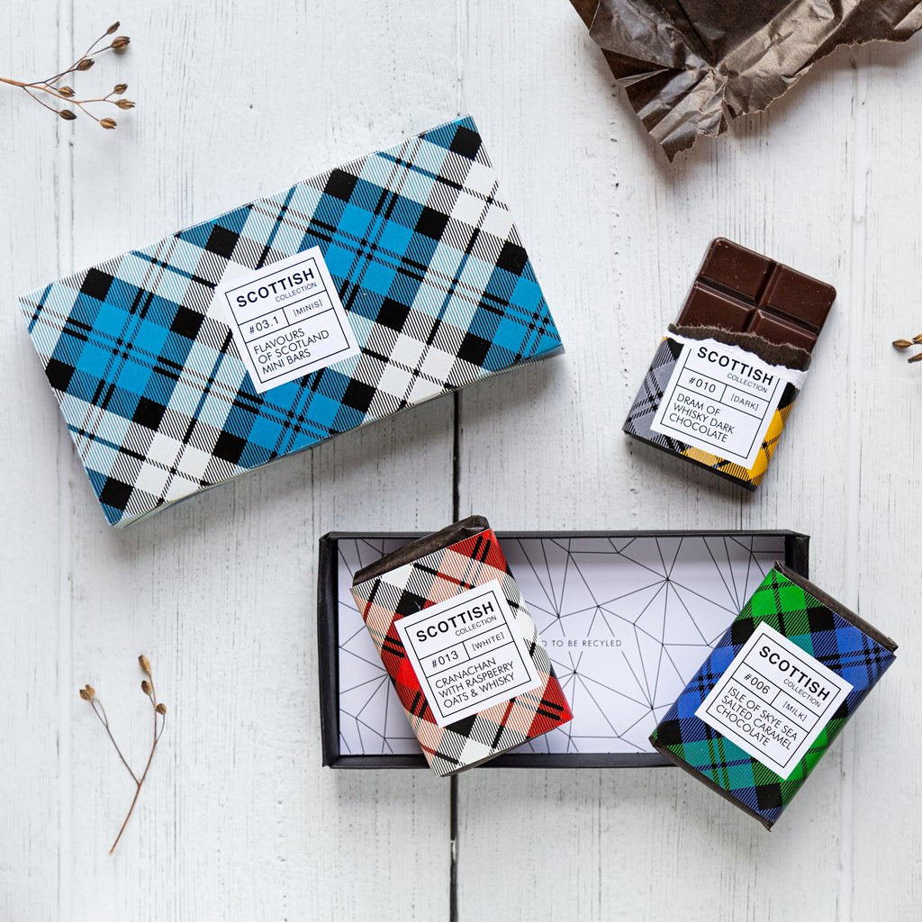 Gift Set of 3 Tartan Mini Bar Chocolates - Caramel, Whisky and Cranachan