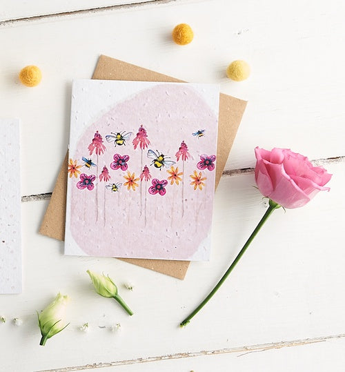 Bees & Flowers Seed Card