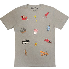 Tintin Icons T-Shirt Grey
