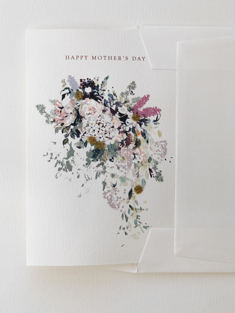 Hand Embroidered Happy Mother's Day Bouquet Card
