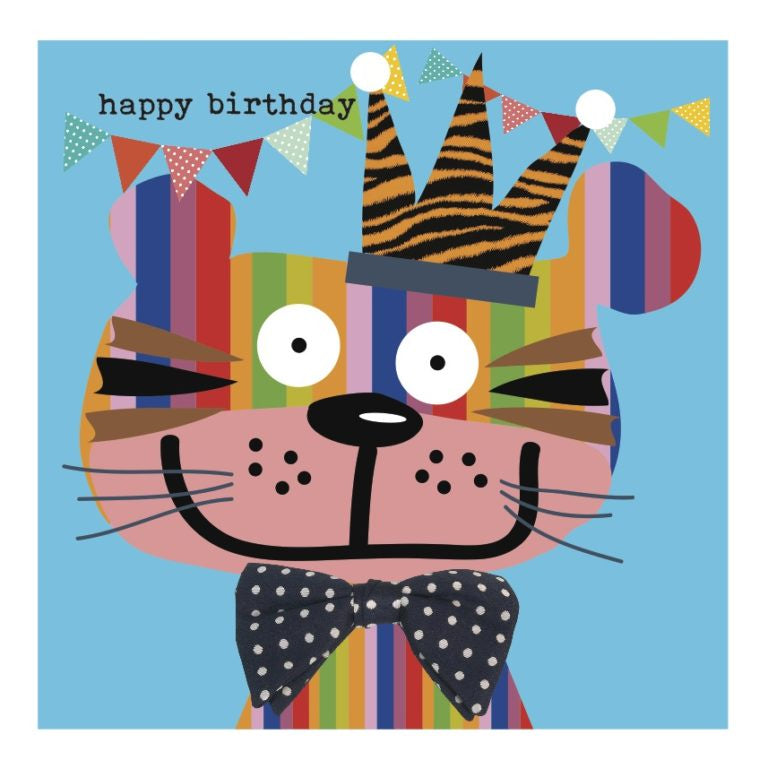 Colourful Cat Happy Birthday Card