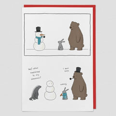Snowman Animal Christmas Card