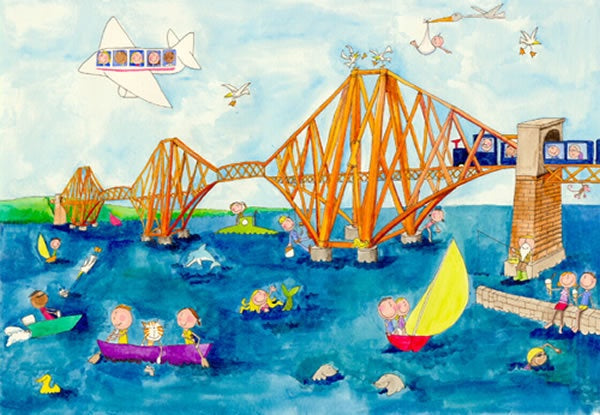 Gingerpaws at the Forth Rail Bridge Postcard