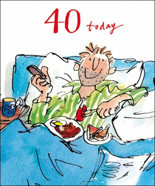 In Bed Quentin Blake 40th Birthday Card