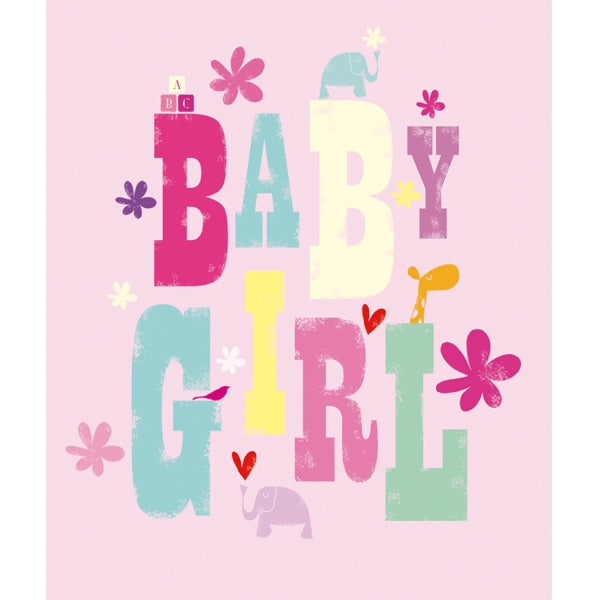Baby Girl Typography Card