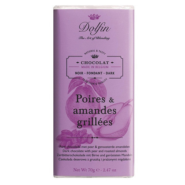 Dolfin Pear Roasted Almonds Dark Chocolate Bar