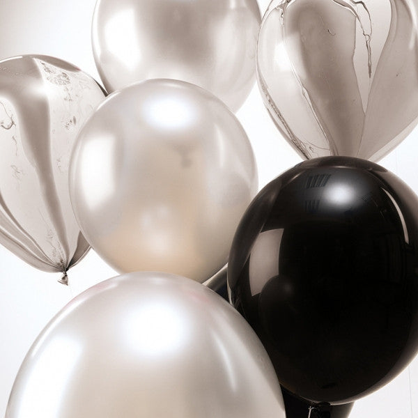 Black and White Mix Pack of 12 Balloons