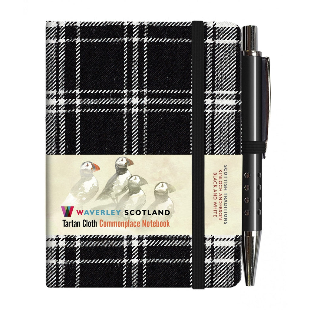Mini Tartan Notebook with Pen - Black and White