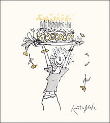 Jumping with Cake Quentin Blake Card