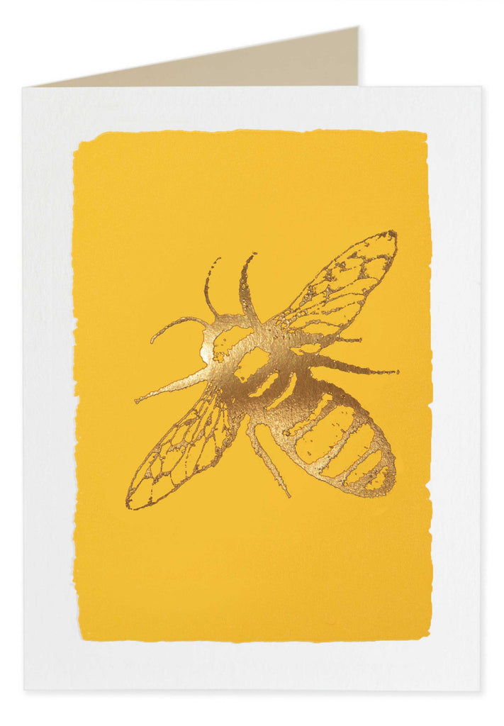 Gold Foiled Yellow Bee Pack of 5 Cards