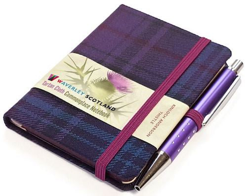 Mini Tartan Notebook with Pen - Thistle