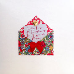 Fabric Envelope To A Special Mum Christmas Card