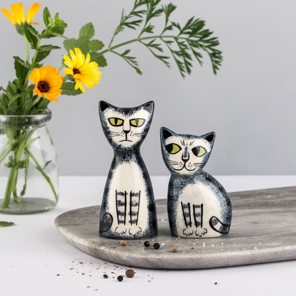 Grey Tabby Cat Salt and Pepper Shakers by Hannah Turner