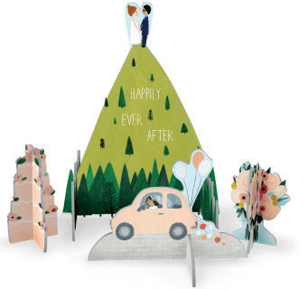 Hilltop Wedding Pop and Slot Wedding Scene and Card