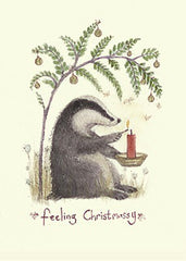 Feeling Christmassy Badger Christmas Card