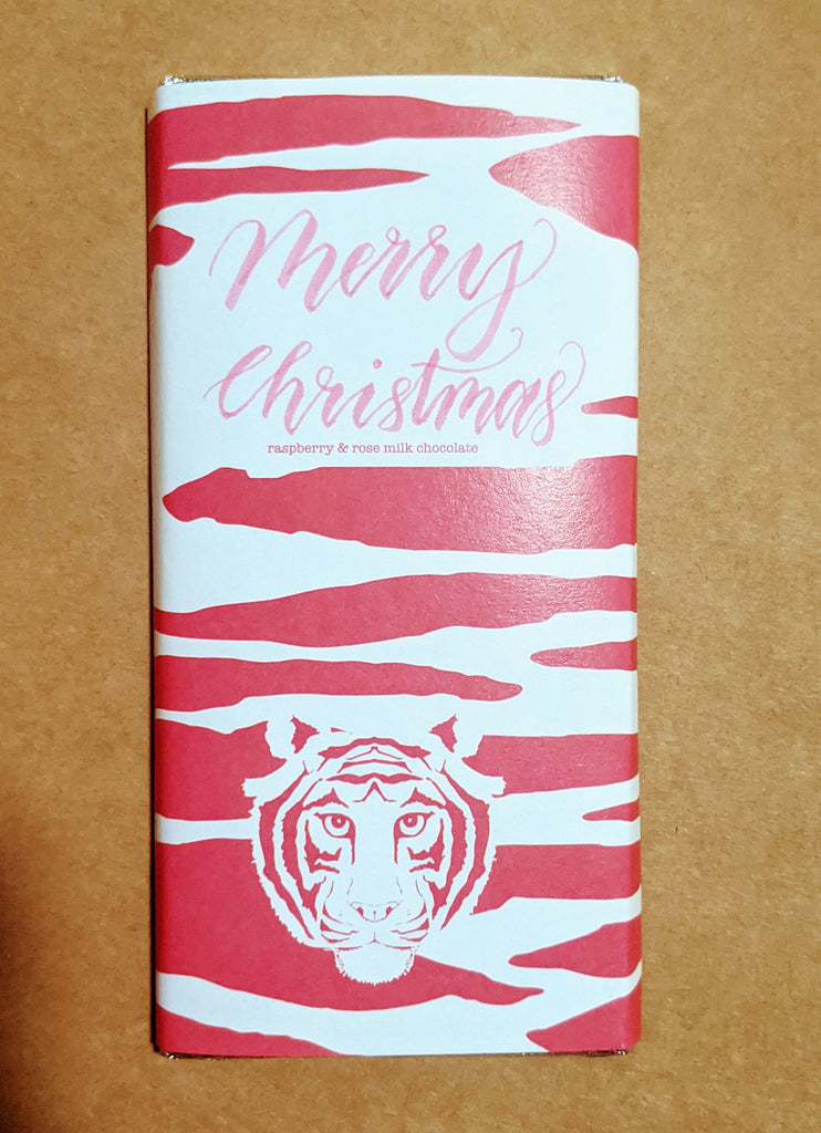 Paper Tiger Raspberry & Rose Milk Chocolate Personalised Merry Christmas