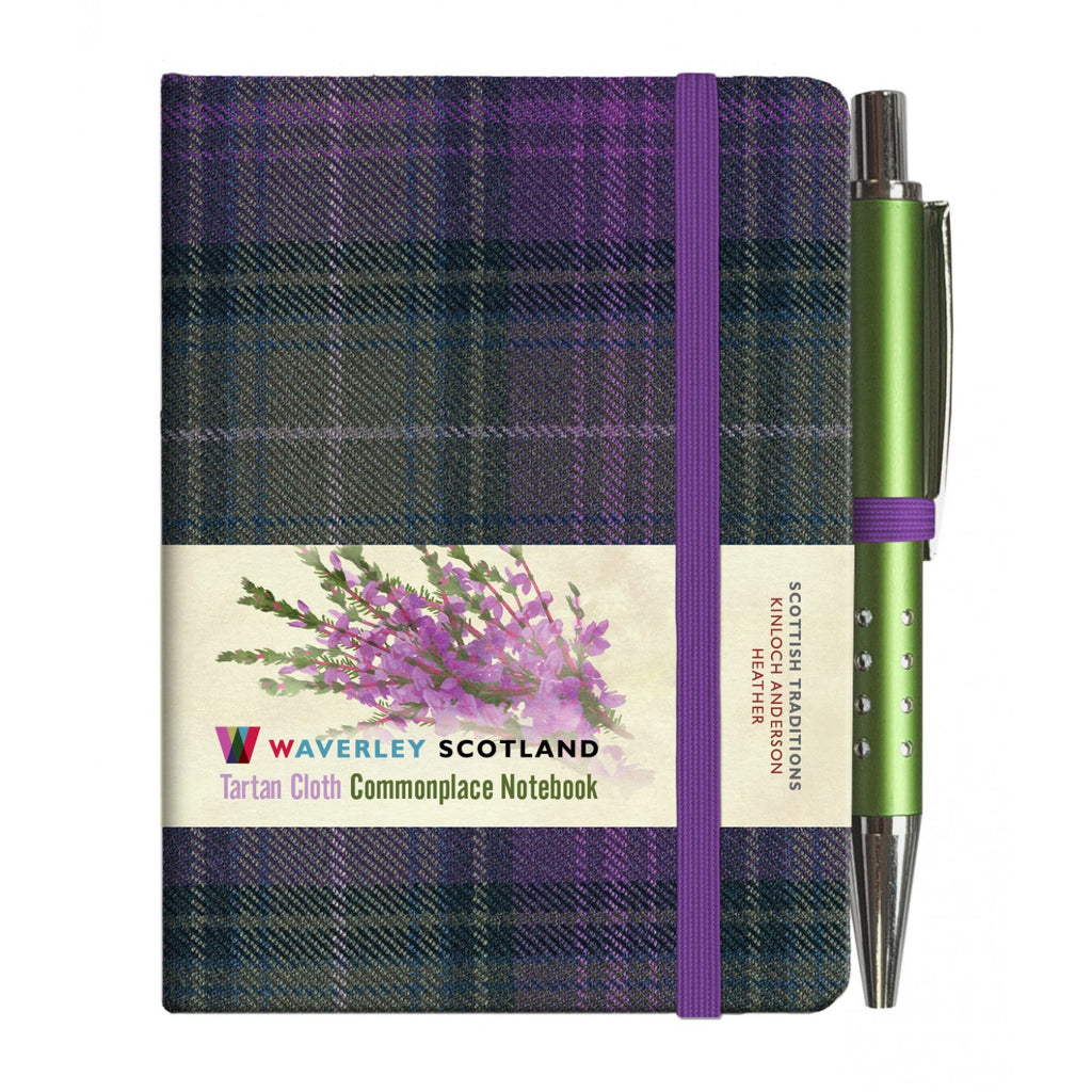 Mini Tartan Notebook with Pen - Heather