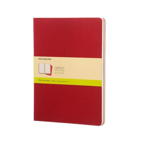 Moleskine XL Cahier Plain Journals Set of 3 Cranberry Red