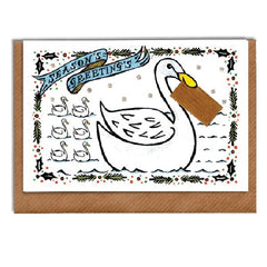 Swan with Envelope Christmas Card