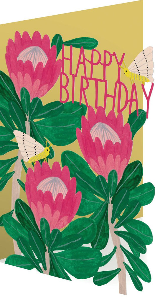 King Protea Flower and Moth Birthday Lasercut Card