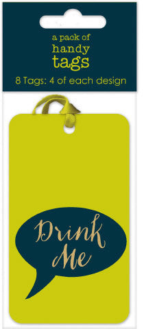 Eat Me Drink Me Green Gift Tags Pack of 8