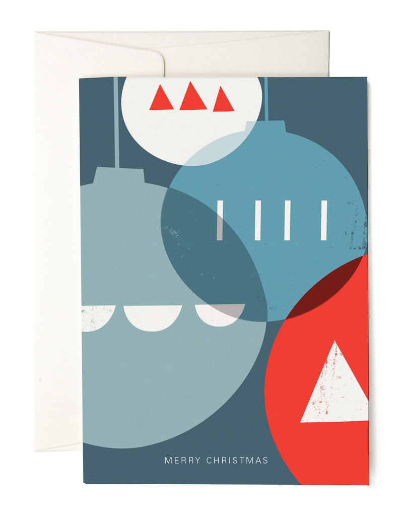 Geometric Baubles Christmas Card