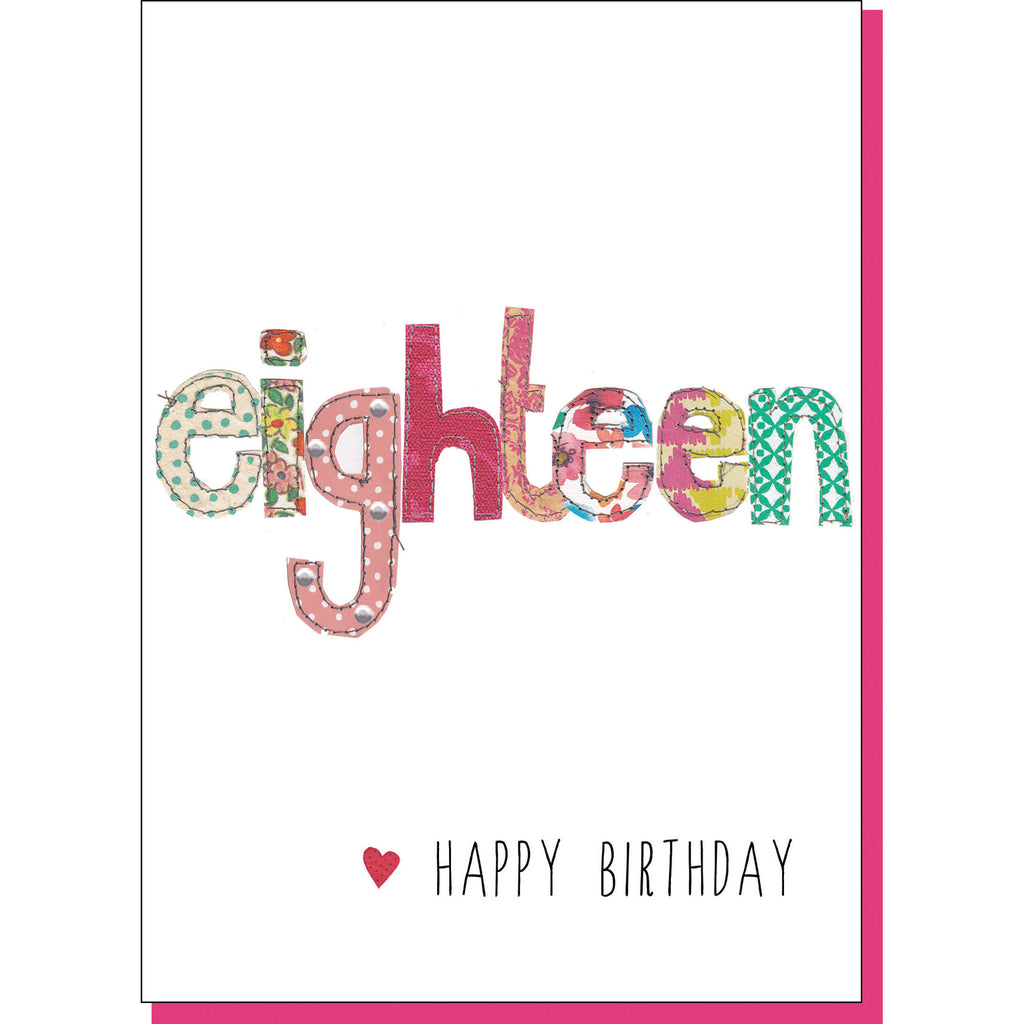 18th Birthday Card - Patchwork (For Her)