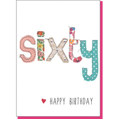 60th Birthday Card - Patchwork (For Her)