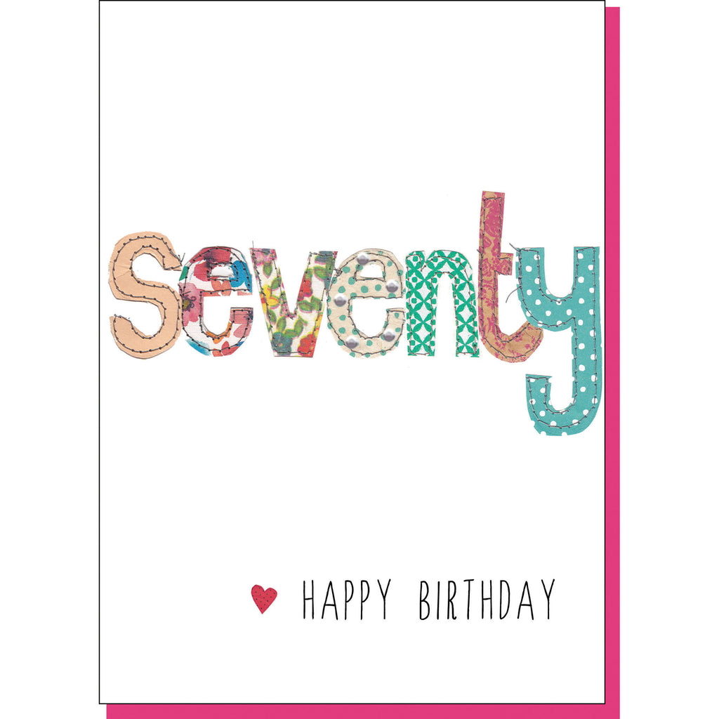 70th Birthday Card - Patchwork (For Her)